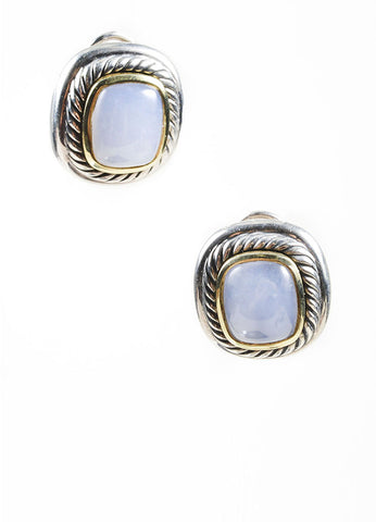 "Sterling Silver, 14K Gold, and Blue Chalcedony David Yurman ""Albion"" Post Earrings Frontview"