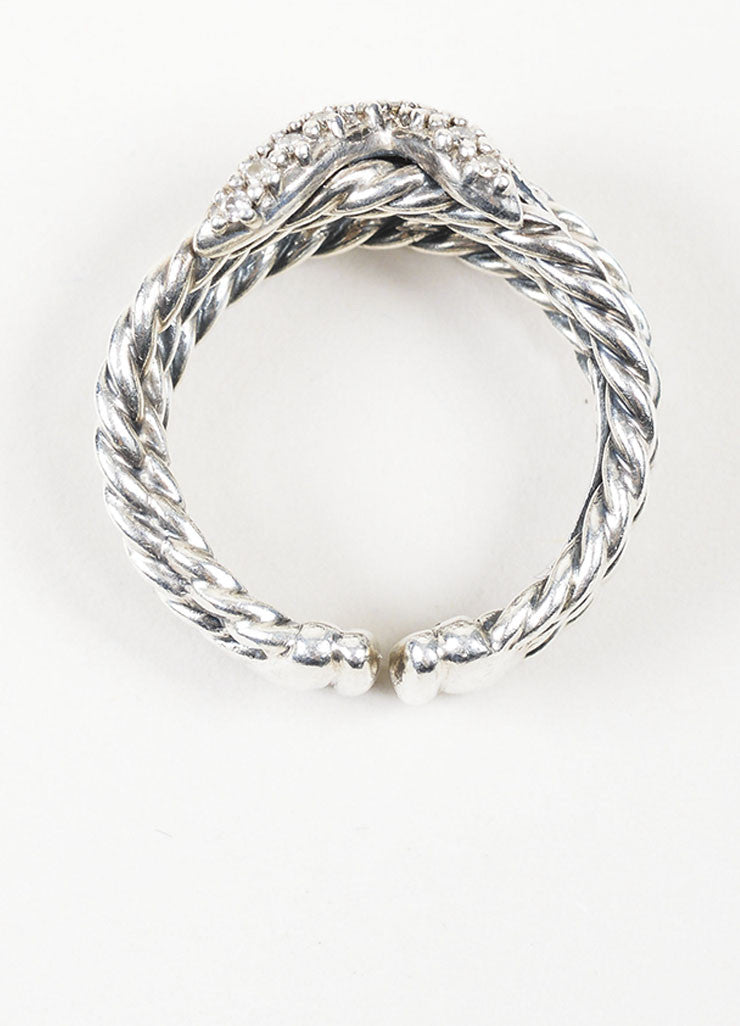 Sterling Silver David Yurman Diamond 'X' Cable Ring Top