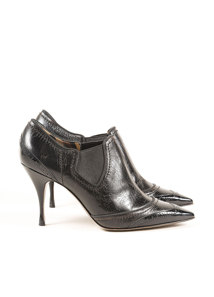 Dolce & Gabbana Black Cracked Leather Patent Trim Wing Tip Ankle Booties Sideview