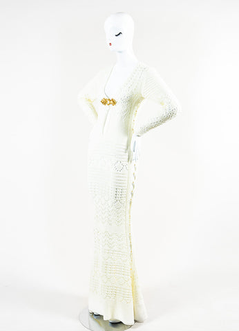 Emilio Pucci Cream and Gold Toned Cotton Crochet Ringed Keyhole Long Sleeve Gown Sideview