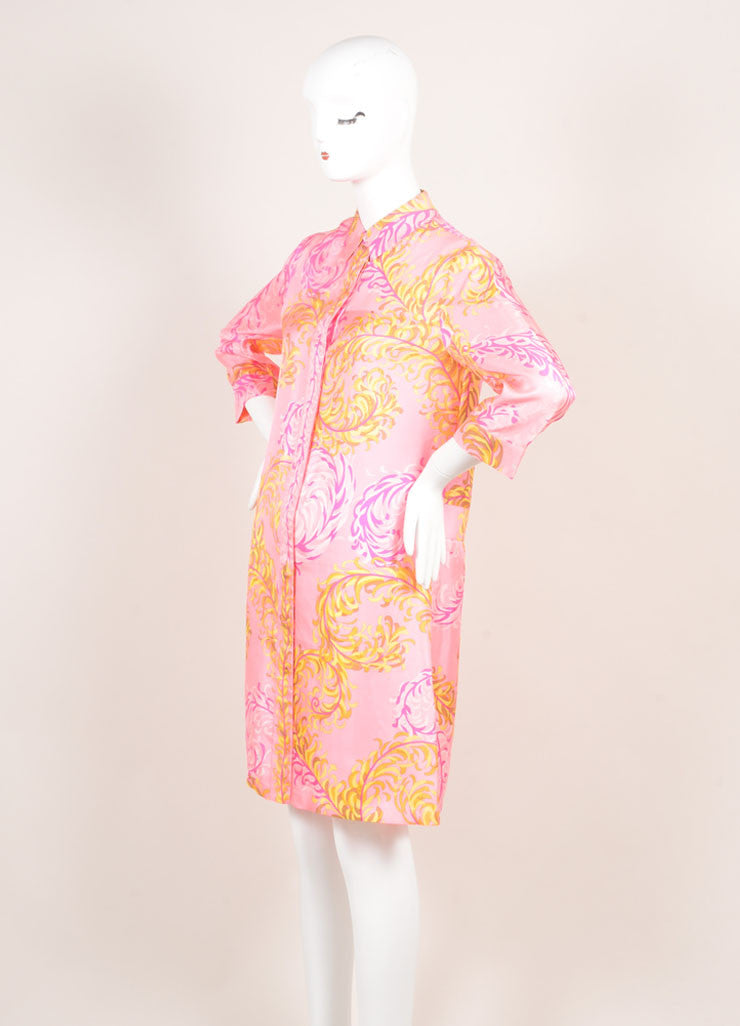 Emilio Pucci Pink Multicolor Foliage Print Silk Quarter Sleeve Shirt Dress Sideview
