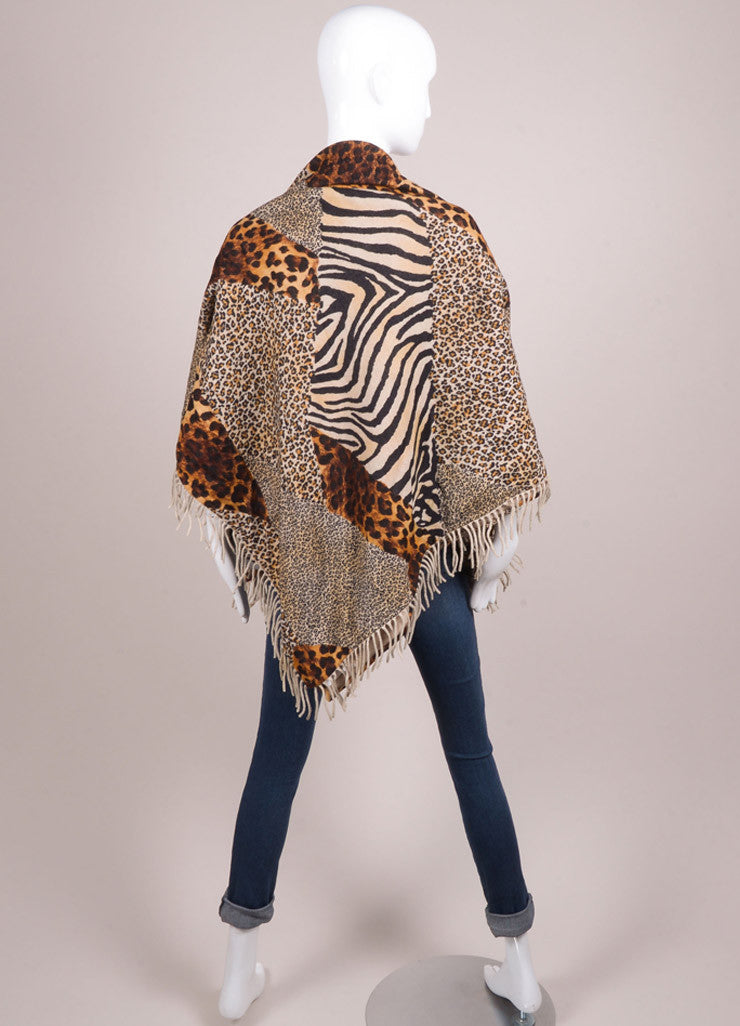 Escada Multicolor Brown Animal Print Wool and Cashmere Shawl Backview