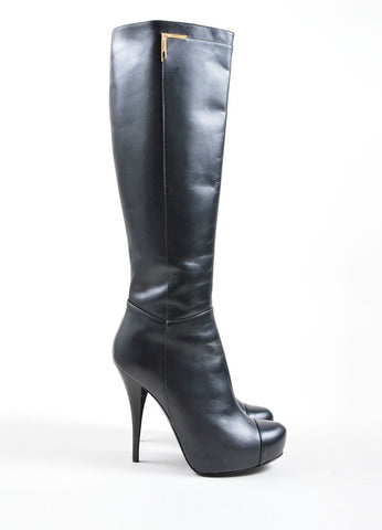 Fendi Black Leather Knee High Platform High Heel Boots Sideview