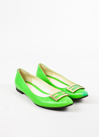 Fendi Neon Green Leather Gold Toned 'FF' Almond Toe Ballet Flats Frontview