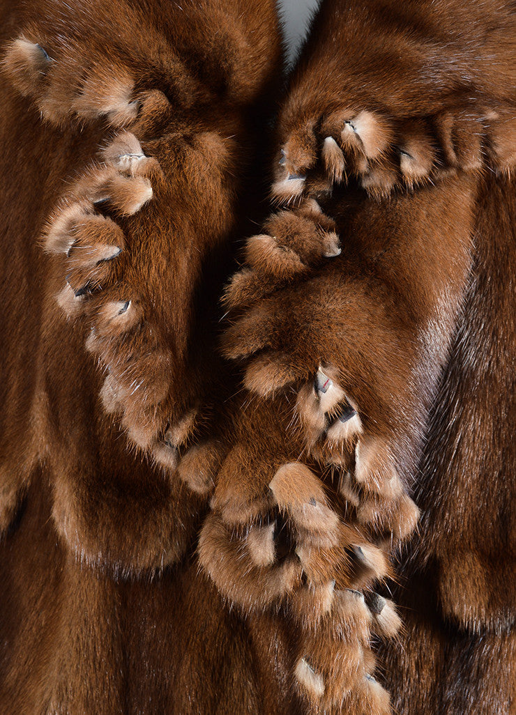 Brown ¥éËFurs By Guarino Fur Fringe Trimmed Long Coat Detail