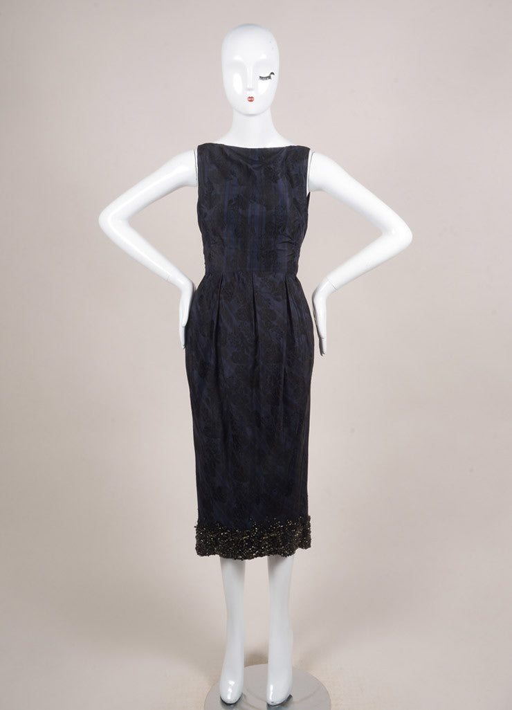 Giambattista Valli Navy Blue and Black Silk Plaid Brocade Embellished Dress Frontview