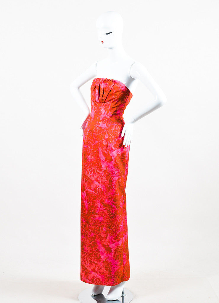 Giambattista Valli Pink and Red Floral Print Strapless Pleated Bust Straight Gown Sideview