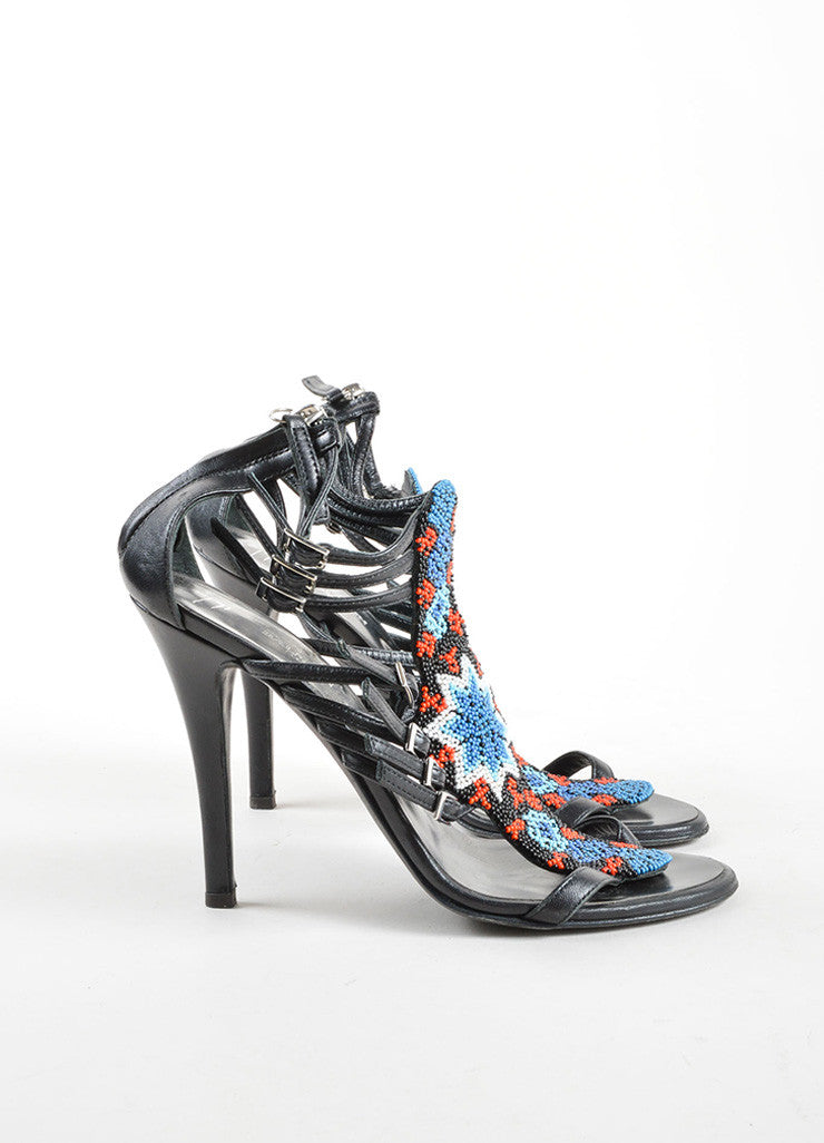 Giuseppe Zanotti for Balmain Black Leather Beaded Strappy Heel Sandals Sideview
