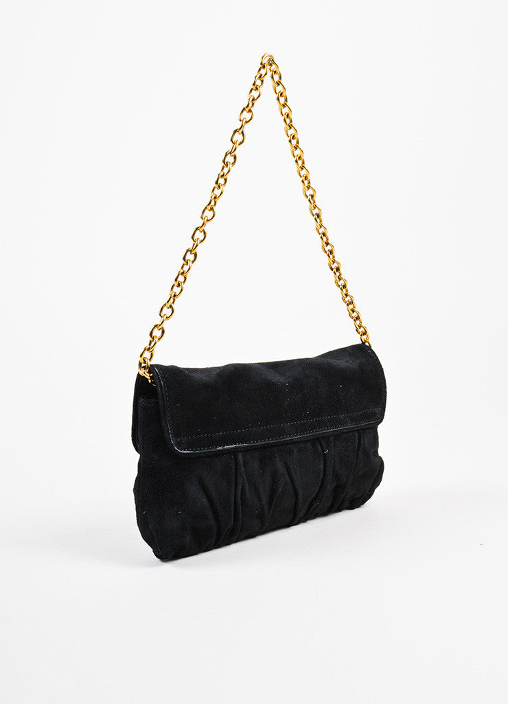 "Gucci Black and Gold Toned Suede Heart Embellished ""Babouska"" Evening Bag Sideview"