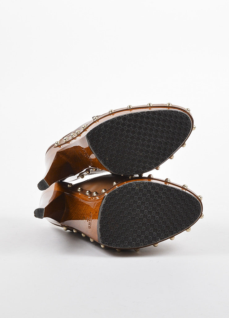 Gucci Brown Leather Wood and Bamboo Tasseled Platform Clogs Outsoles