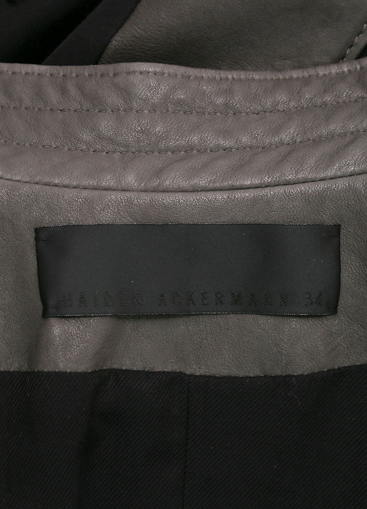 "Haider Ackermann New With Tags Grey and Black Knit Trim ""Athena"" Leather Jacket Brand"