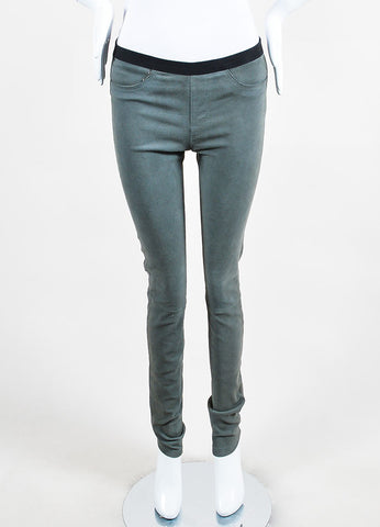 Helmut Lang Grey Textured Suede Legging Pants  Frontview