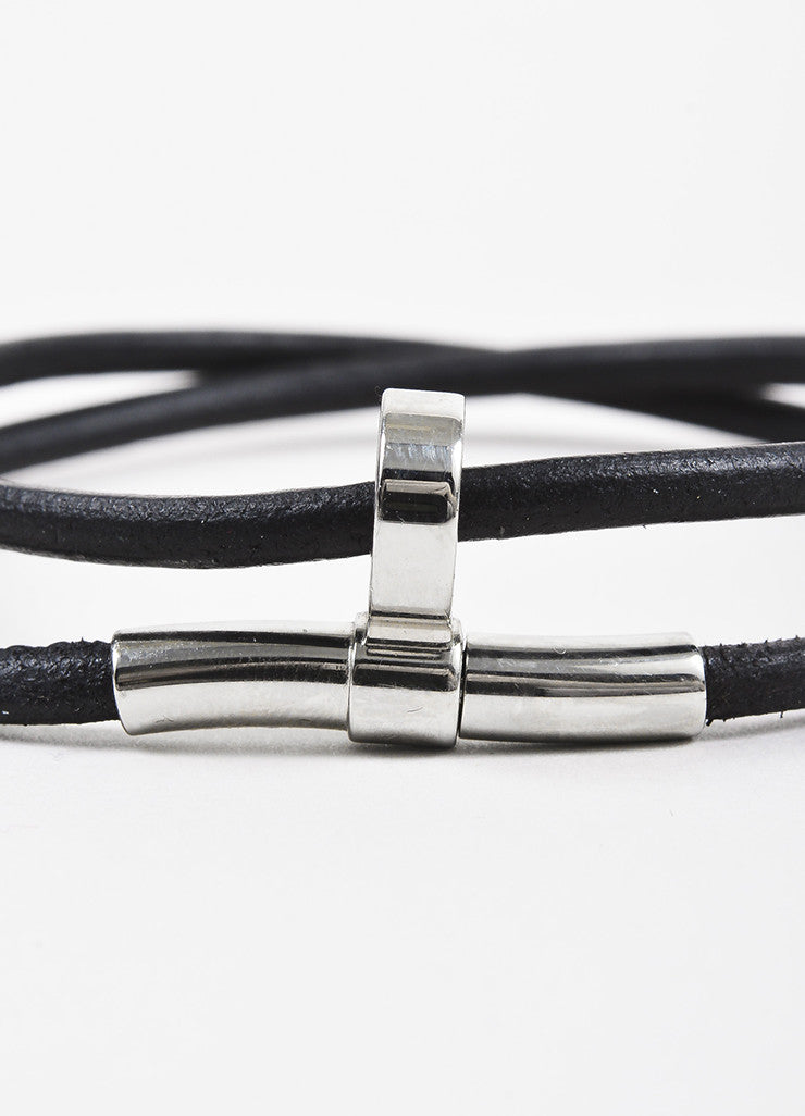 Hermes Black Leather Palladium Plated Double Wrap Bracelet Detail