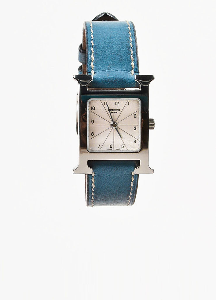 "Hermes Blue Jean Stainless Steel Leather Strap ""Heure H PM"" Wrist Watch Frontview"