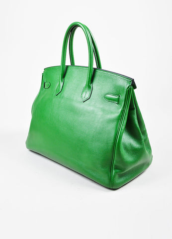 "Hermes Green SHW ""Vert Bengale"" Veau Swift Leather 35 cm ""Birkin"" Bag Sideview"