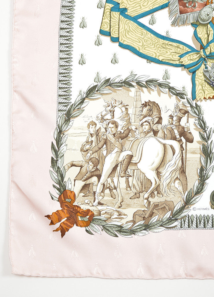 "Light Pink and Multicolor Hermes Silk Twill Printed ""Napoleon"" 90cm Scarf Detail"