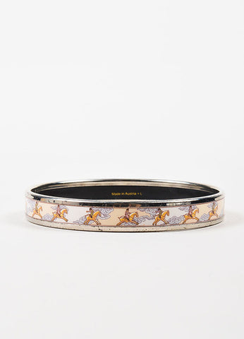 Silver Toned, Pink, and Grey Hermes Enamel Equestrian Cloud Print Bangle Bracelet Frontview