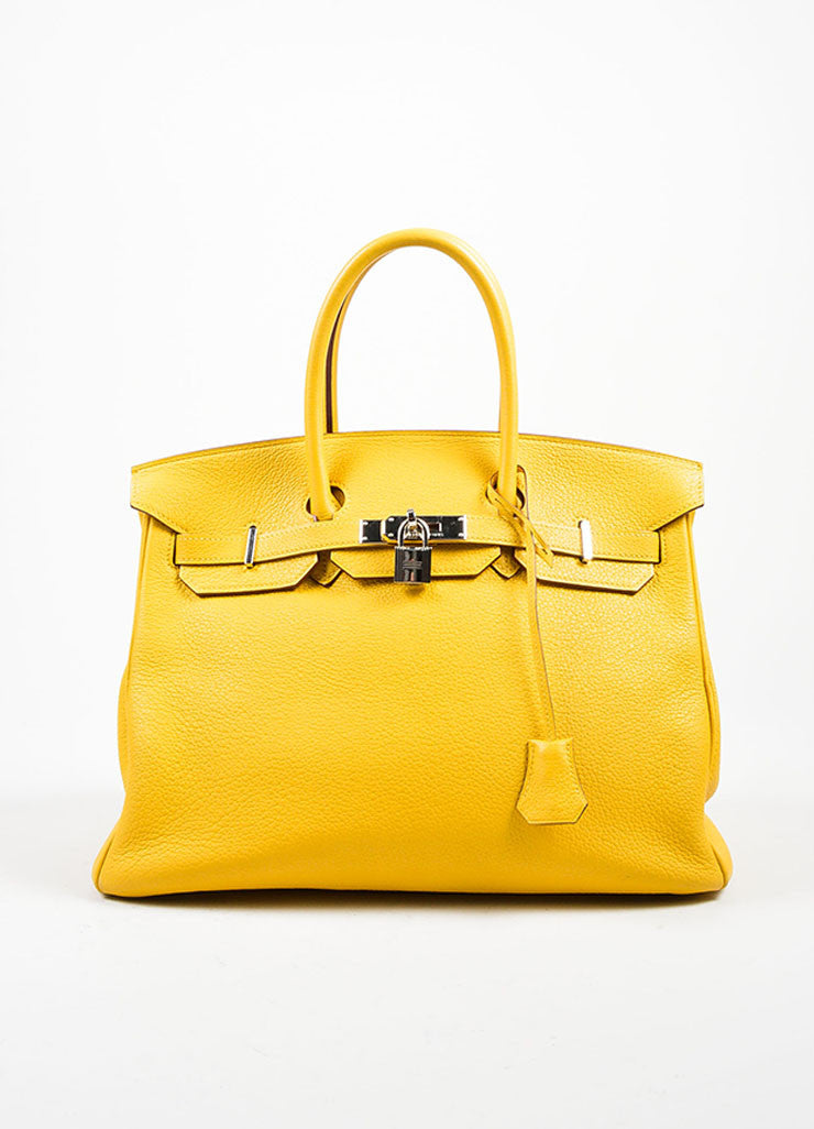 "Yellow ""Soleil"" Hermes Leather 35cm ""Birkin"" Bag Front"
