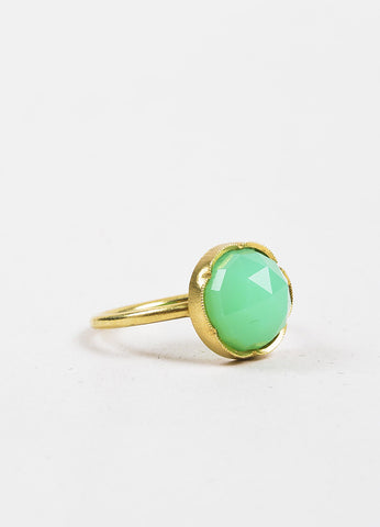 Irene Neuwirth Green Chrysoprase Gemstone and 18k Yellow Gold Ring Sideview