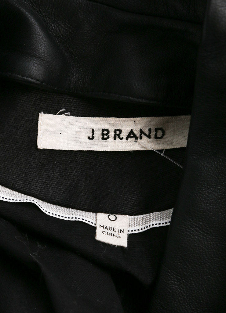 "J Brand Black Textured Cotton and Leather Trim ""Hilary"" Jacket Brand"