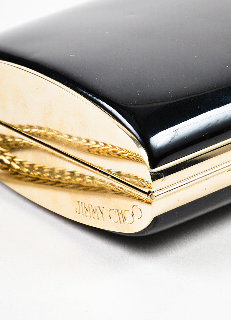Jimmy Choo Black and Gold Toned Patent Leather Chain Strap Wristlet Clutch Bag Detail