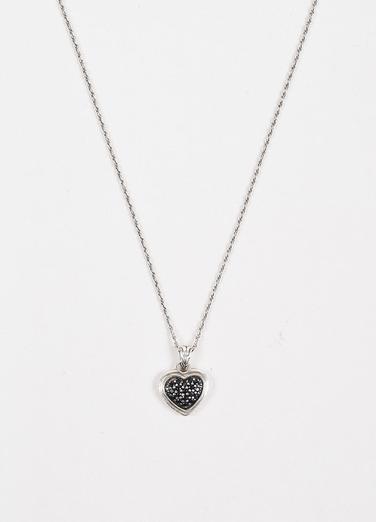 John Hardy Sterling Silver & Black Sapphire Heart Shaped Necklace Front