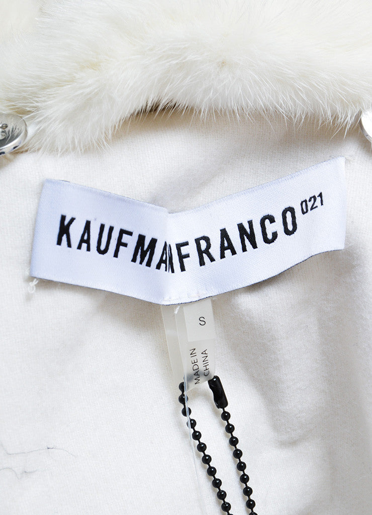 "Kaufmanfranco White Mink Collar Belted ""Tech Parka"" Coat Brand"