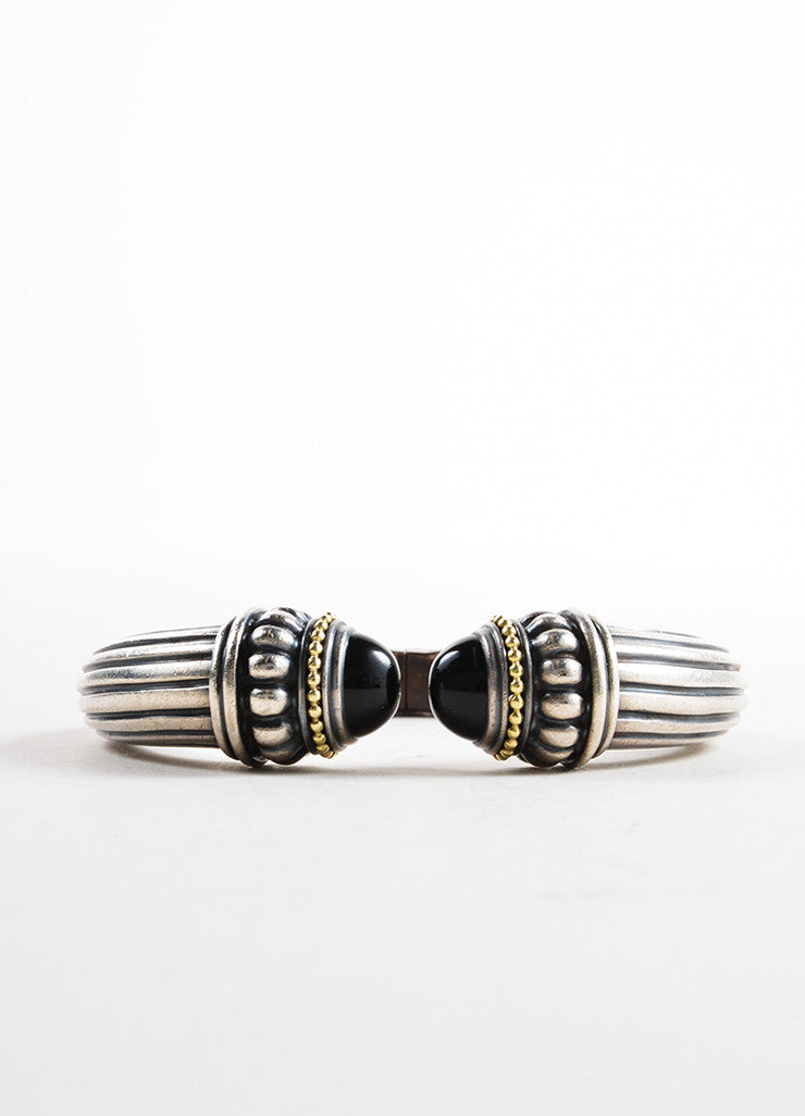Lagos Sterling Silver, 18K Gold, and Black Onyx Caviar Ribbed Hinge Bangle Bracelet Detail
