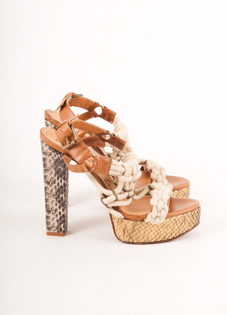 Lanvin 2012 Resort Brown and Bronze Snake Skin Rope Detail Platform Sandals Sideview