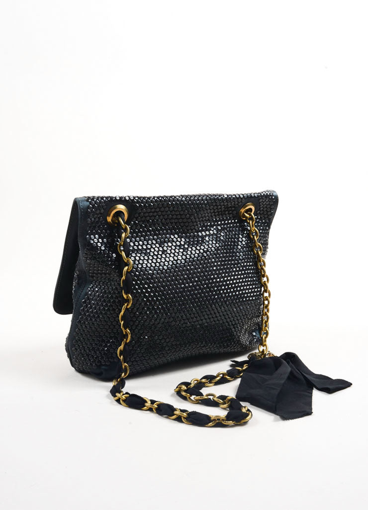 Lanvin Black Satin Sequin Beaded Ribbon Chain Strap Turnlock Satchel Bag Backview