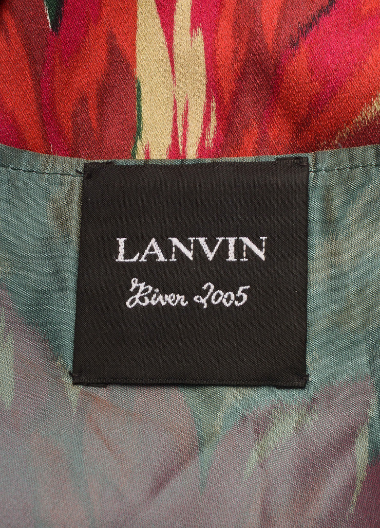 Lanvin Green, Pink, and Red Floral Print Sleeveless Pleated Dress Brand