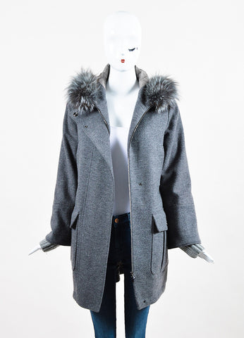 Loro Piana Grey Wool Cashmere Removable Fox Fur Trim Hooded Coat Frontview