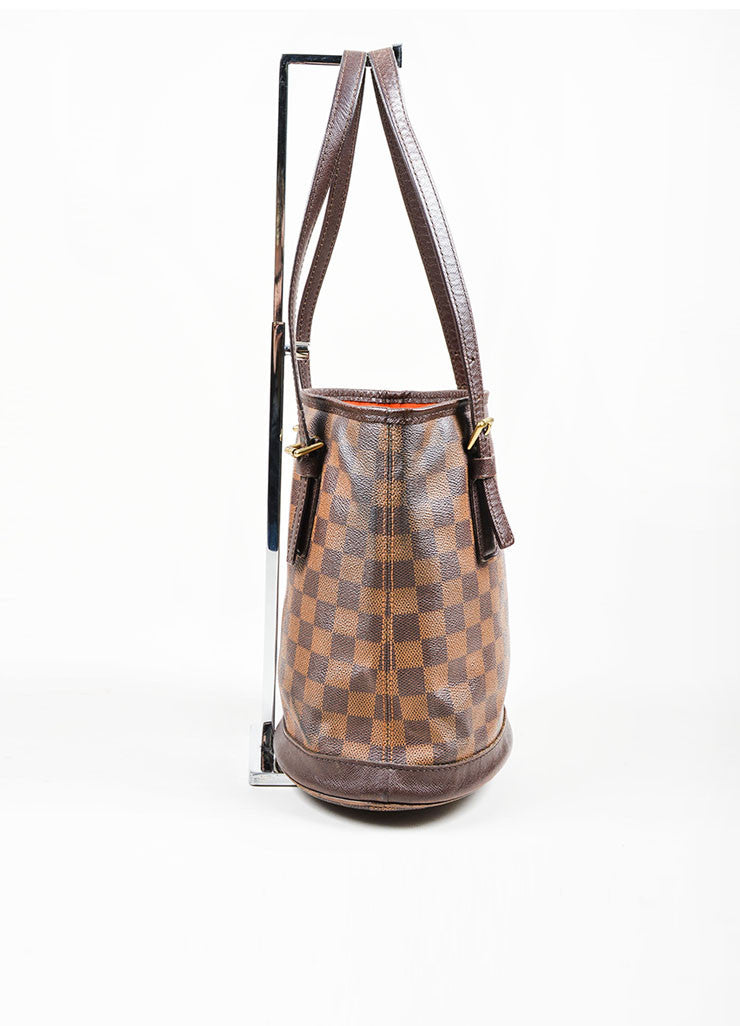 Louis Vuitton Brown Canvas Checkered Bucket Bag Side