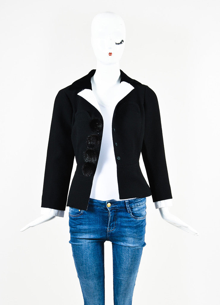 Louis Vuitton Black White Wool Mink Button Stitched Peplum Jacket Front