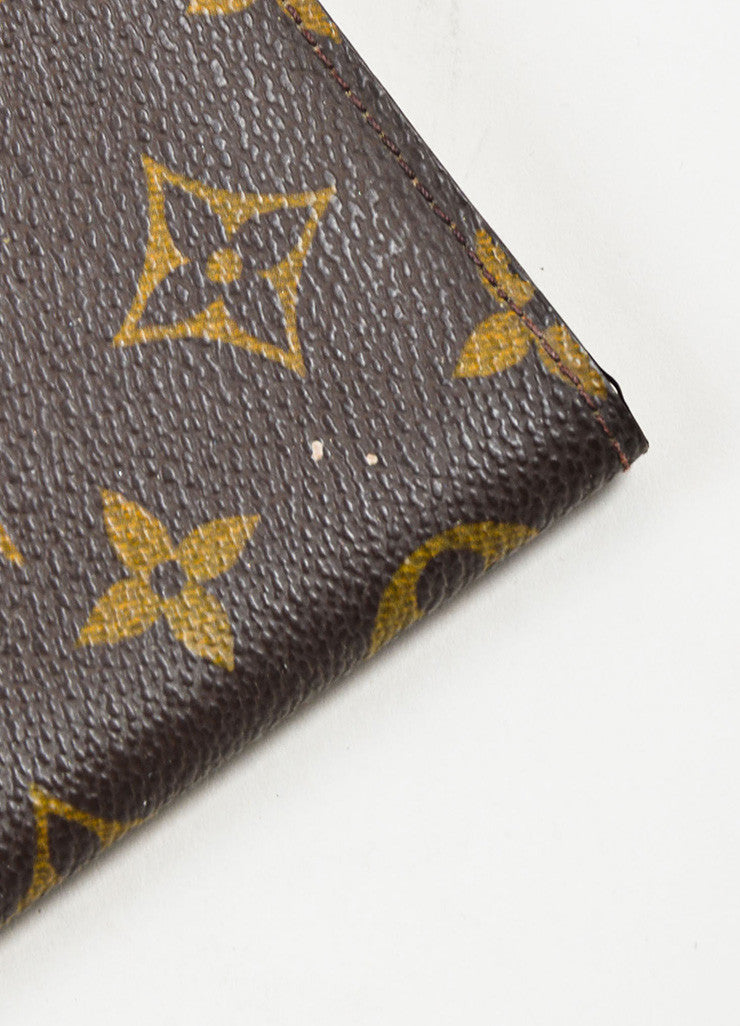 Louis Vuitton Brown and Tan Coated Canvas Monogram Bi Fold Wallet Detail