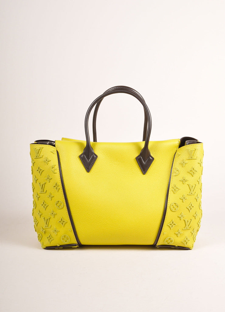 "Louis Vuitton NWT $4600 Yellow ""Pistache"" Tuffetage Parnasse Leather ""W"" PM Bag Front View"