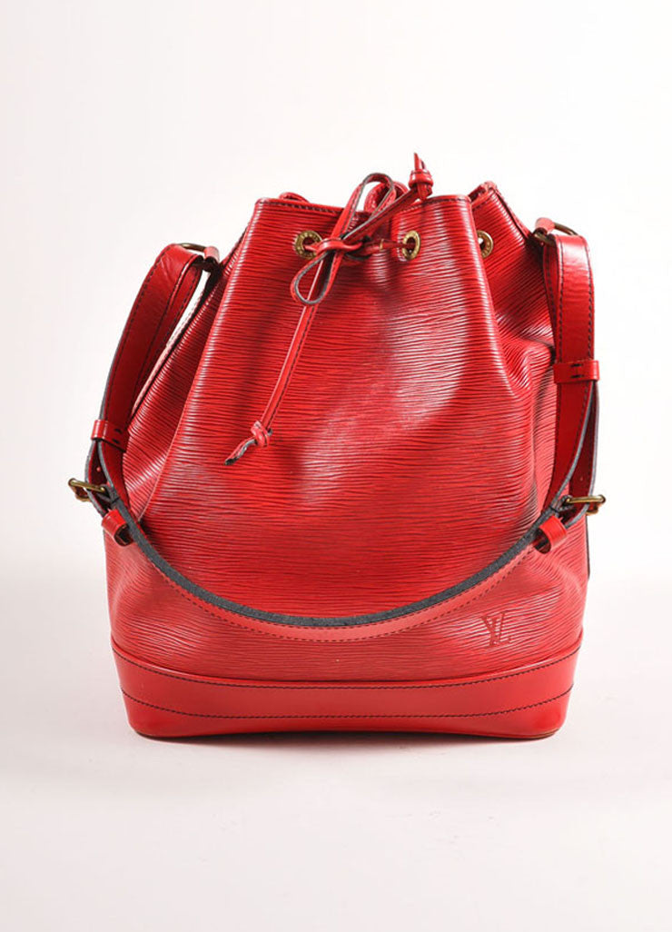 "Louis Vuitton Red Epi Leather ""Noe"" Bucket Bag Frontview"
