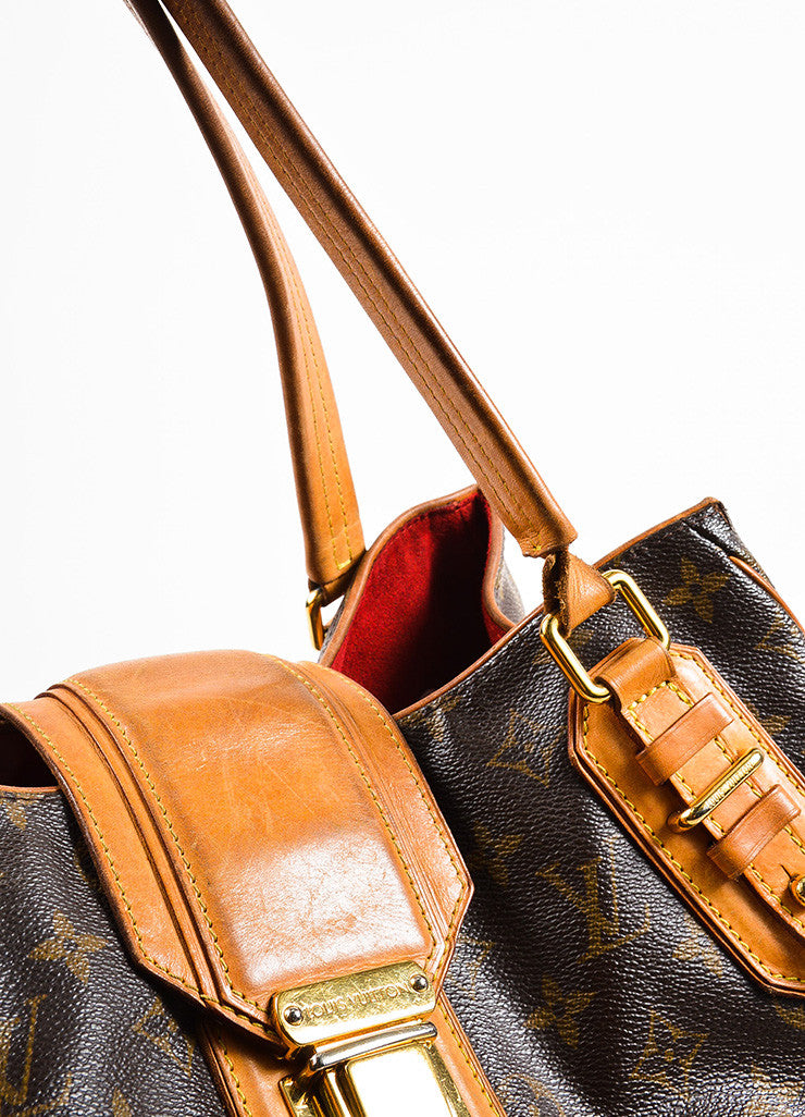 "Louis Vuitton Brown and Tan Coated Canvas Monogrammed ""Griet"" Tote Handbag Detail 2"