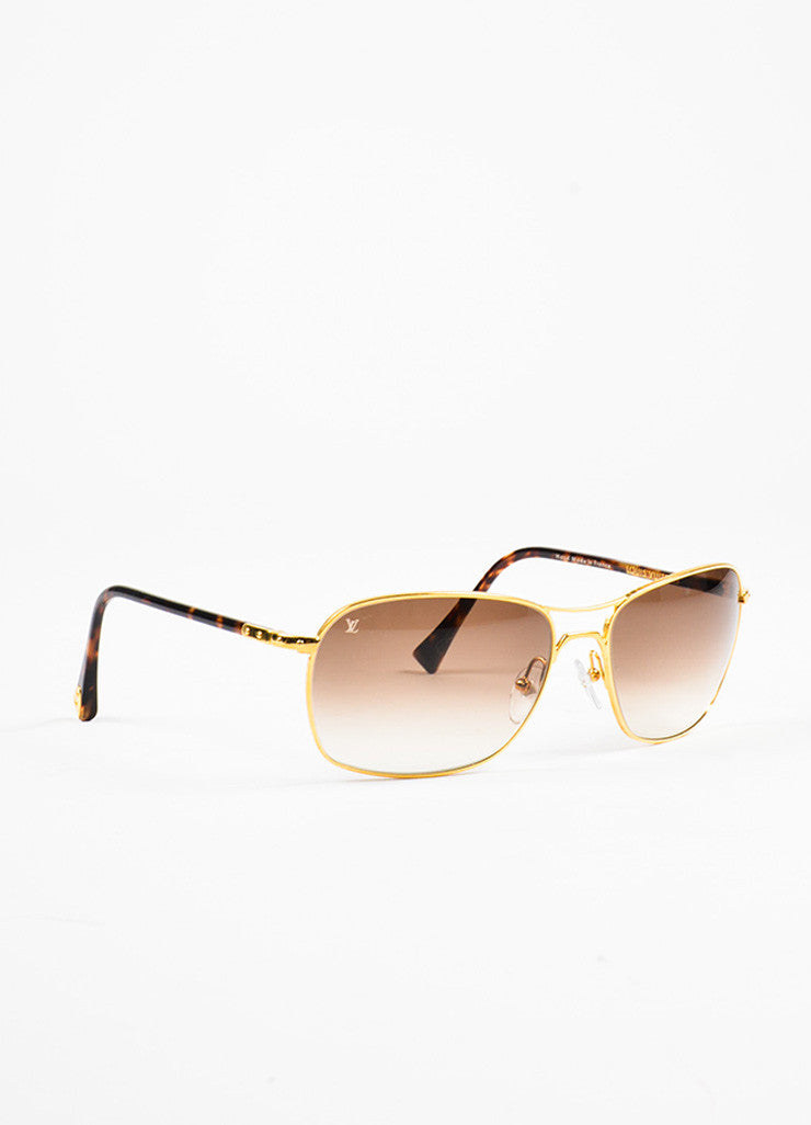 "Men's Louis Vuitton Tortoise and Gold Toned ""Conspiration Pilote"" Aviator Sunglasses Sideview"