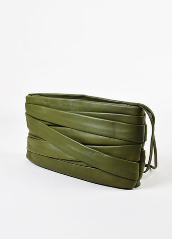 Maison Martin Margiela Green Leather Strappy Panel Oversized Wristlet Clutch Bag Sideview
