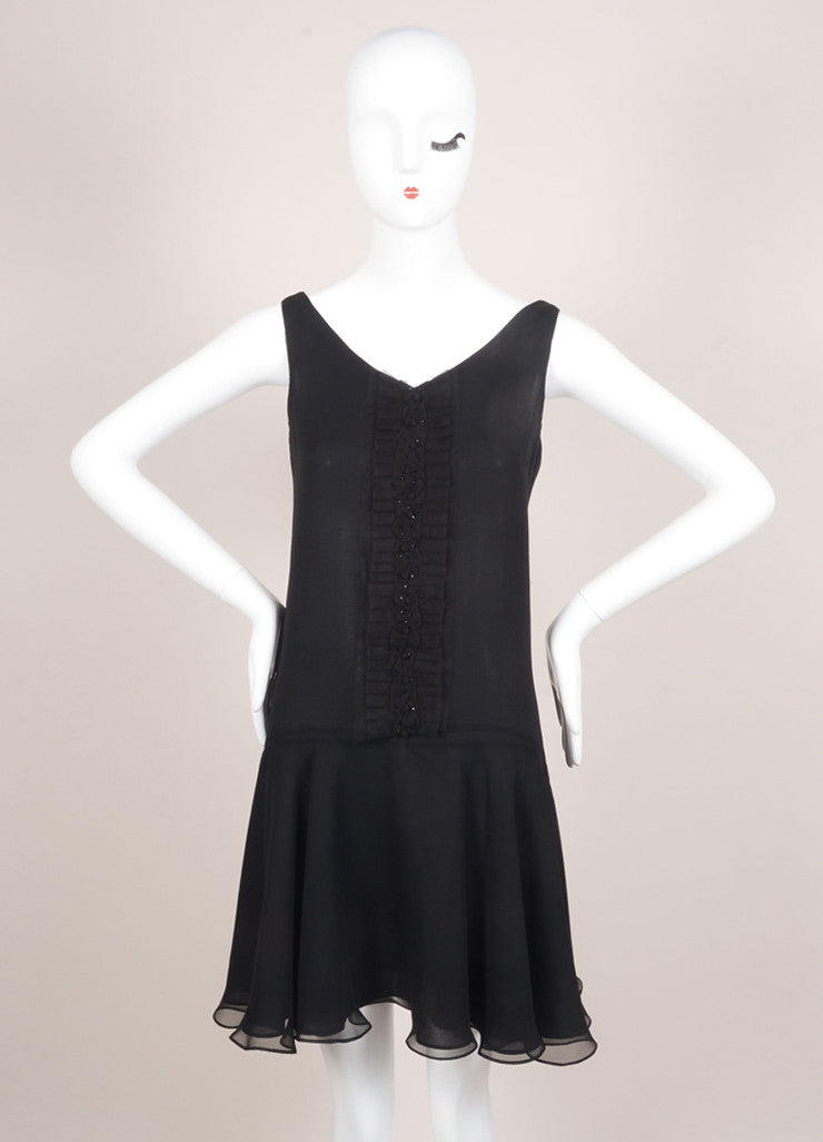 Marchesa Notte Black Silk Beaded Sleeveless Swing Dress Frontview