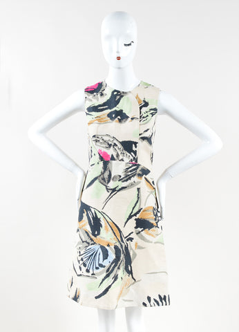Marni Beige Multicolor Abstract Print Cotton Sleeveless A-Line Dress Front 2