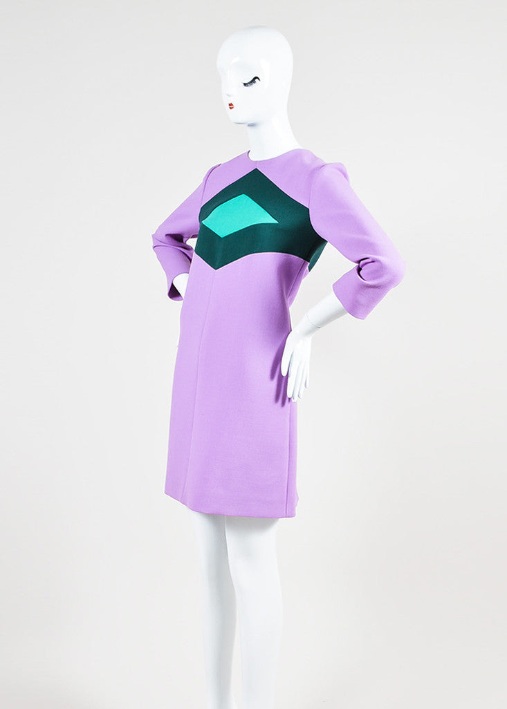 Purple and Two-Tone Green Marni Wool Mini Mod Shift Dress Sideview