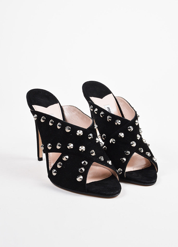 Miu Miu Black and Silver Toned Suede Studded Peep Toe Heeled Mules frontview