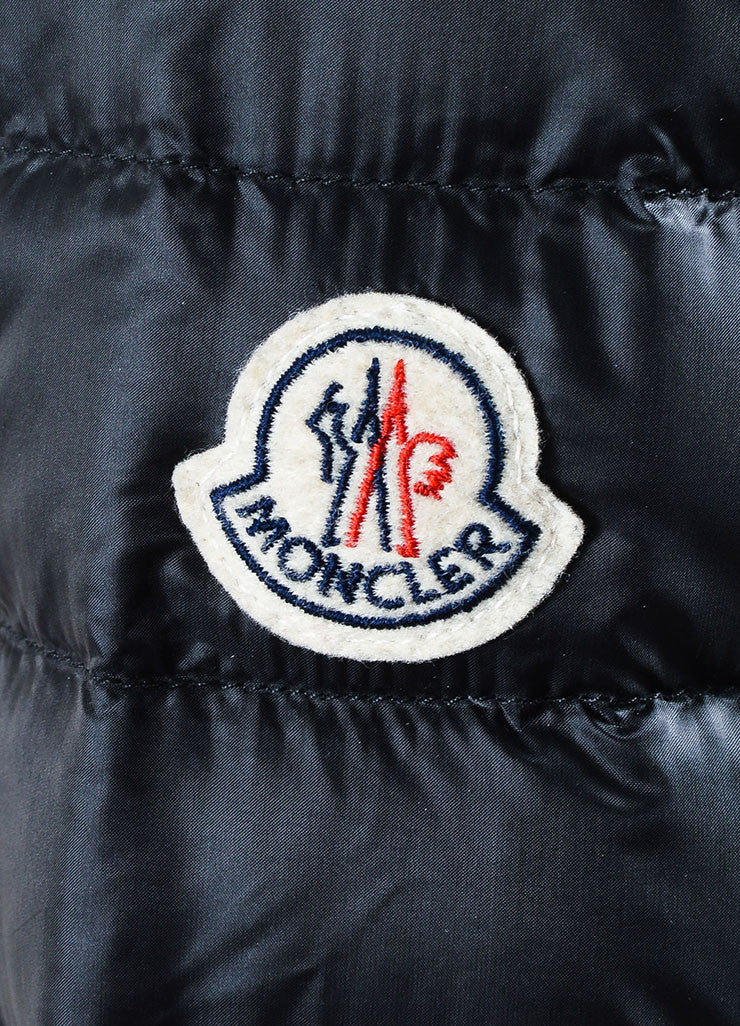 "Black Moncler Nylon Down Quilted ""Leyla"" Puffer Jacket Detail 2"