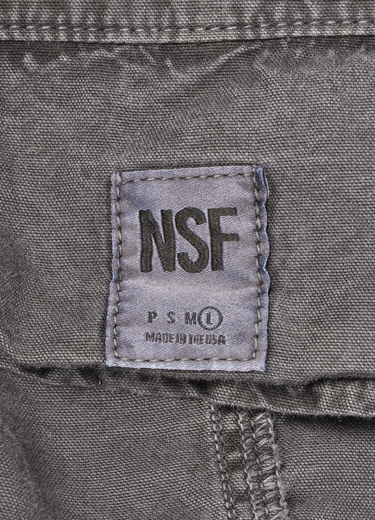 "NSF New With Tags Grey Denim Long Sleeve Zip ""Sargeant"" Jacket Brand"