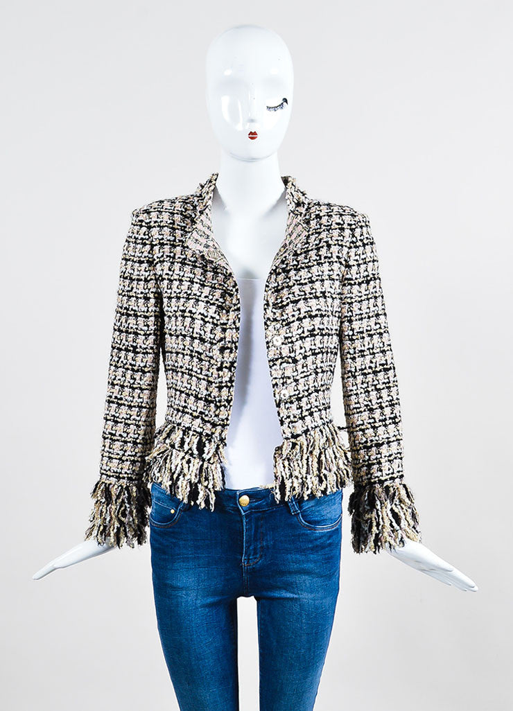 Multicolor Oscar de la Renta Tweed Fringe Trim Jacket Frontview