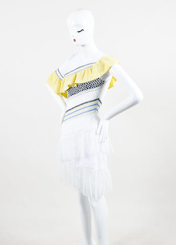 "Peter Pilotto Multicolor Lace Tiered Ruffle ""Octave"" Short Sleeve Dress Sideview"