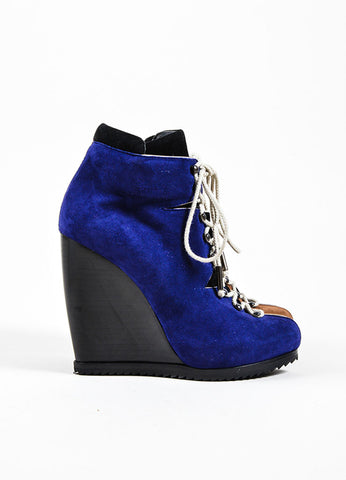 Pierre Hardy Blue and Brown Suede Lace Up Booties Side