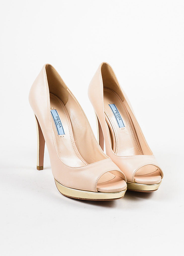 Prada Beige Nude and Pale Gold Toned Metallic Leather Peep Toe Platform Pumps Frontview